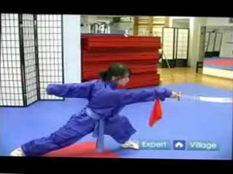 Advanced Wushu Techniques : How to do a Wushu Bow Stance Thrust